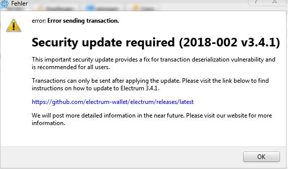 ElectrumX Phishing Attack Fehler